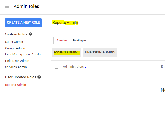 assign new created role