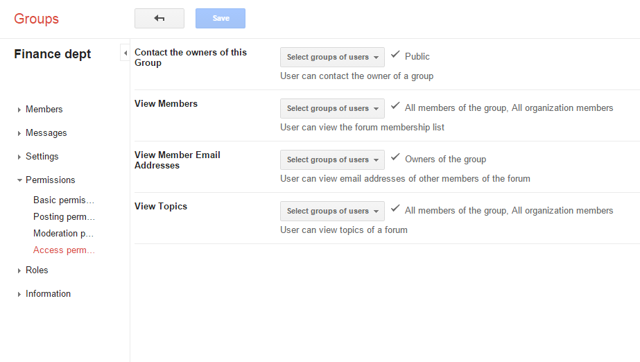 Group Access settings