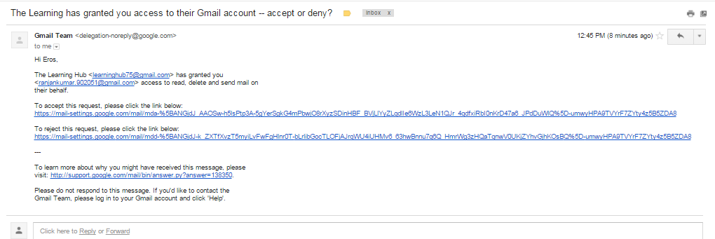 accept it or deny gmail delegation