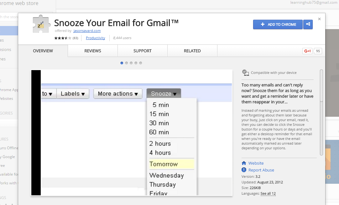 Snooze your mail for gmail