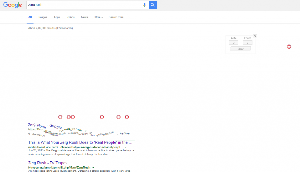 funny google tricks: ZErg Rush