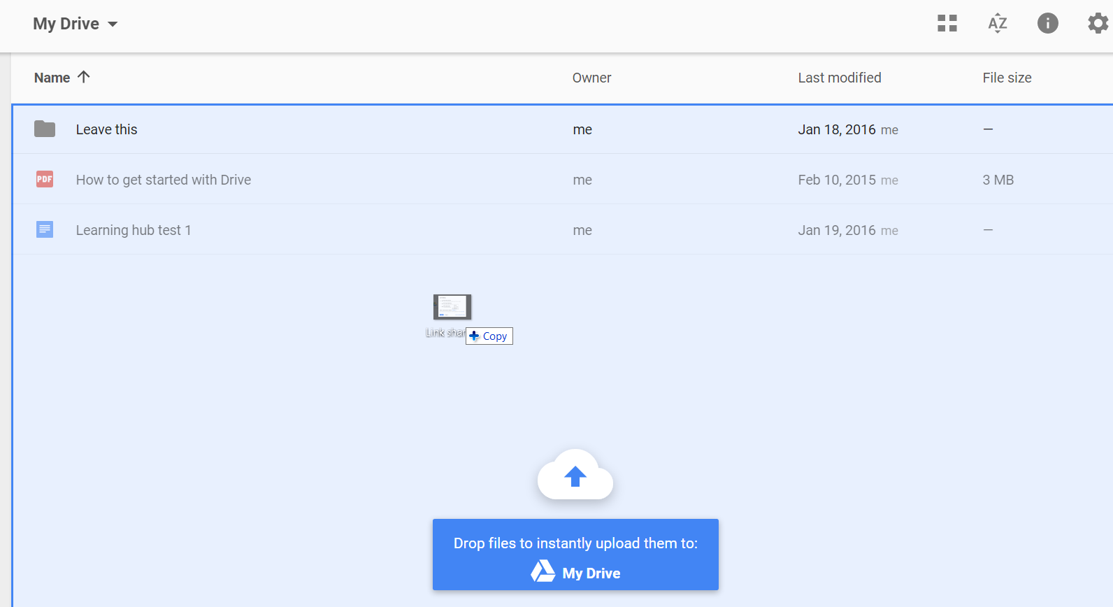 drag and drop in google drive