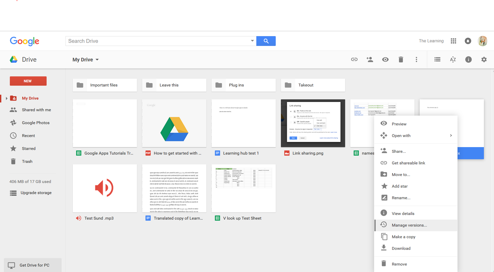 manage versions of google drive files