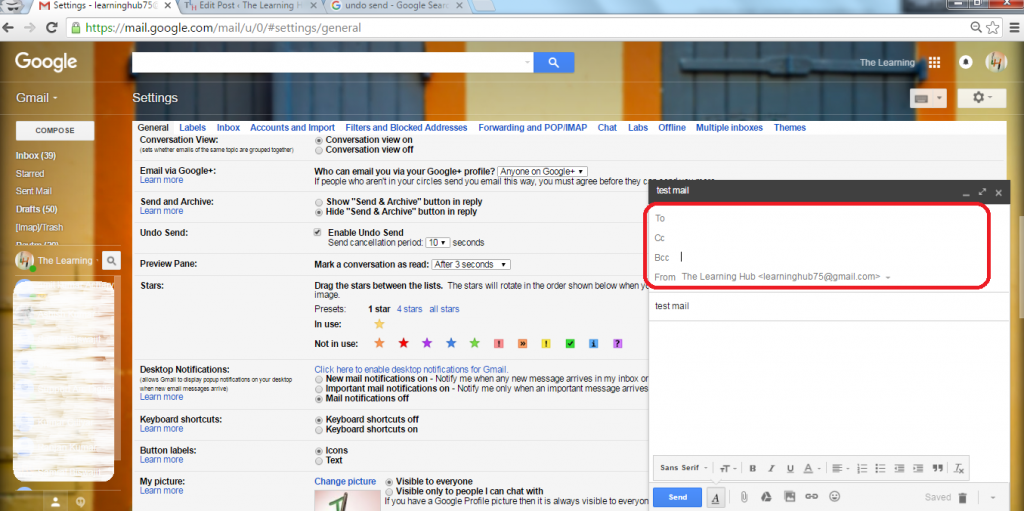 how to use cc and bcc in gmail