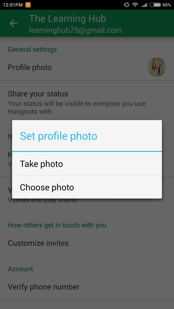 Choose photo to update the gmail profile picture
