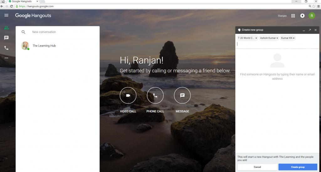 create hangouts group