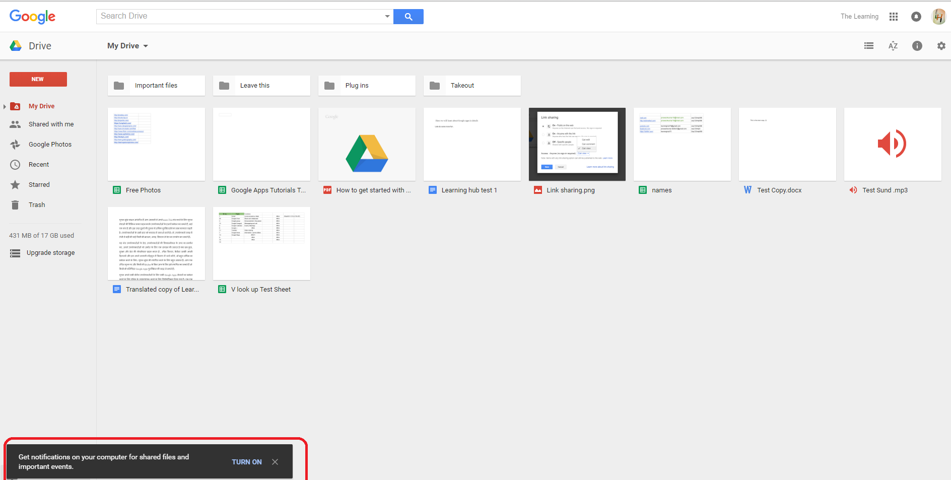 google drive notifications