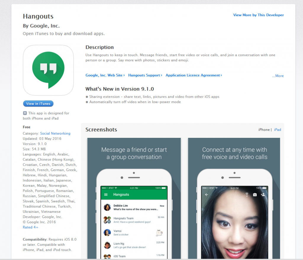 hangouts on iOS