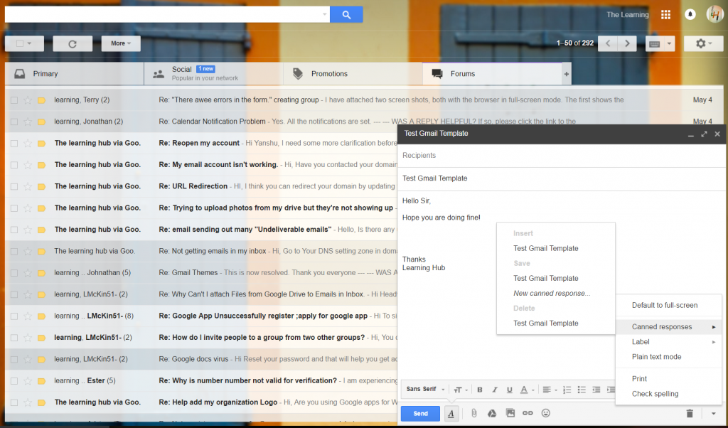 Canned response - gmail labs
