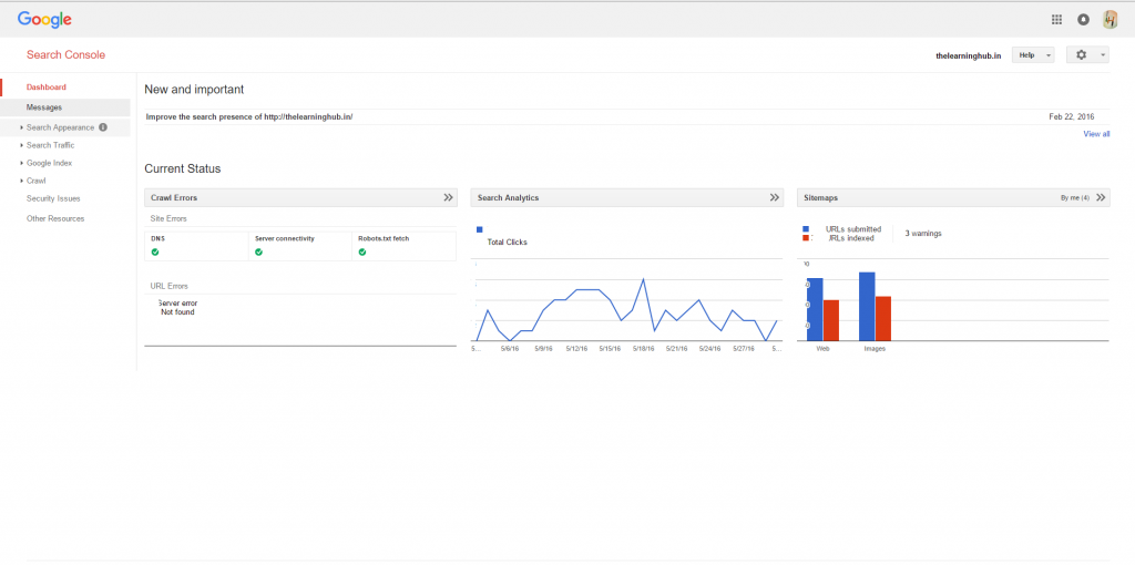 Webmaster search console analysis
