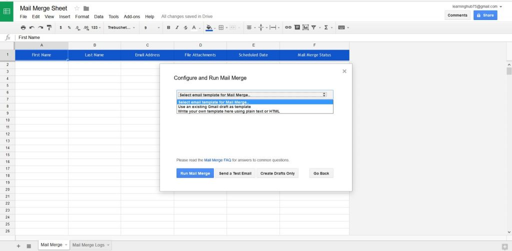 Choose draft for mail merge