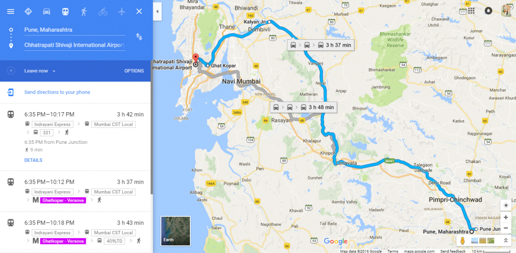 Bus and train timing in google maps