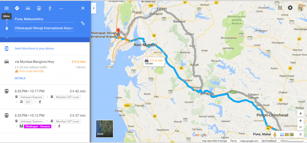 navigation of route in google maps