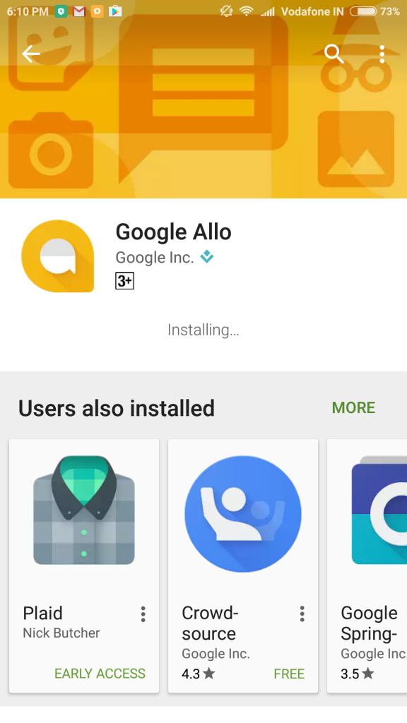 google allo installing in smart phone