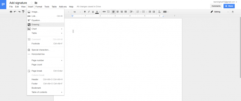 Open Google drawing