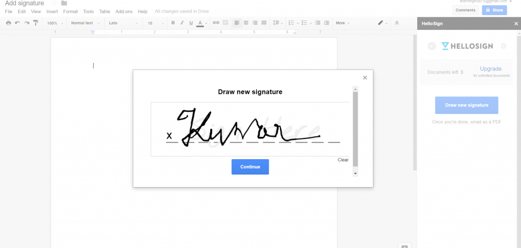 draw your signature in google docs with HelloSign