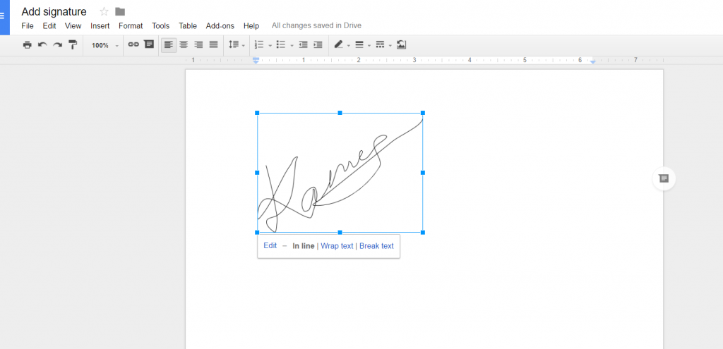 Resize signature in document